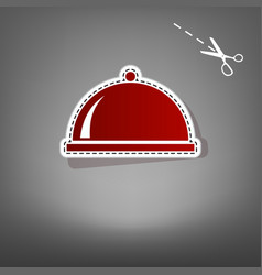 Server sign red icon with vector