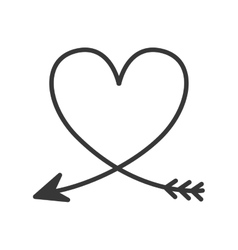 Silhouette of heart with arrow vector