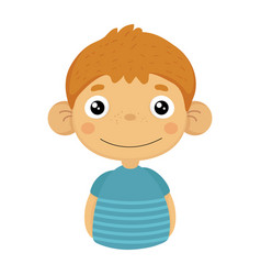 smiling content cute small boy with big ears in vector image