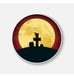 Sticker icon for Halloween night scenery vector image vector image