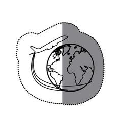 Sticker silhouette airplane around earth world vector