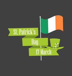 Stpatrick s day ribbon with text and flag vector