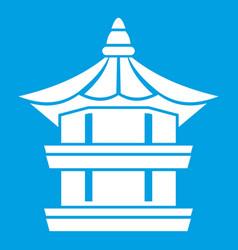 Traditional korean pagoda icon white vector