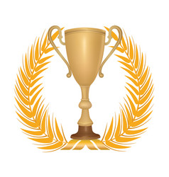winner cup trophies with laurel wreath golden vector image