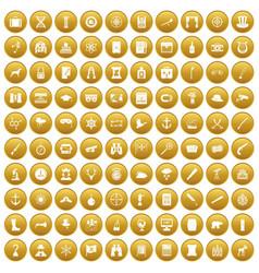 100 binoculars icons set gold vector
