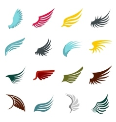 Wing icons set flat ctyle vector