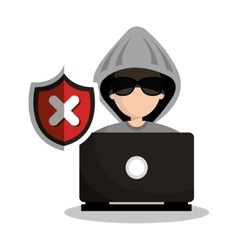 Technology laptop hacker warning design graphic vector