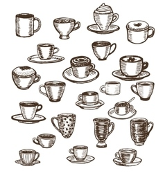 Coffee cups and mugs set vector