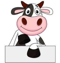 Cute cow with blank sign vector