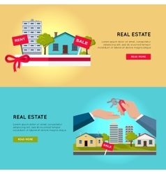 Set of real estate web banners vector