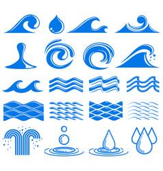 Waves and water symbols vector