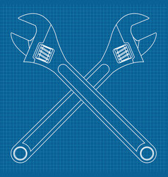 Adjustable wrench crossed icons vector