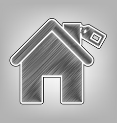 Home silhouette with tag pencil sketch vector