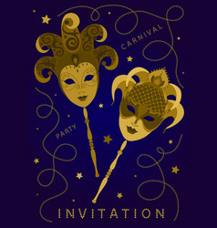Vertical invitation card with two golden masks vector