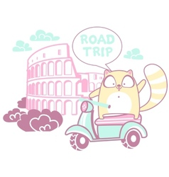 Road trip with a cat vector