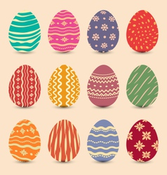 Easter set vintage ornate eggs with shadows vector