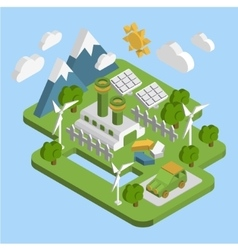 Nature landscape  apartment 3d isometric ecology vector