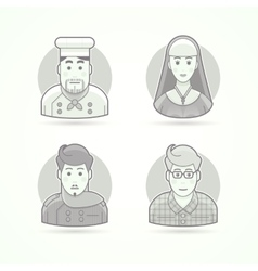 Cook nun stylist and designer icons avatar and vector