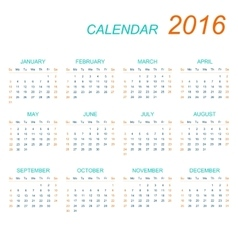 Template calendar 2016  week starts with vector