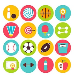 Flat sport recreation and fitness circle icons set vector