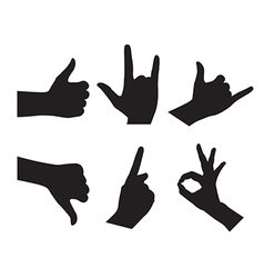 Hand set silhouettes on the white background vector