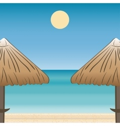 Umbrellas coast horizon landscape vector