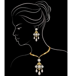 Woman with pearl necklace and earrings vector