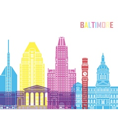 Baltimore V2 skyline pop vector image