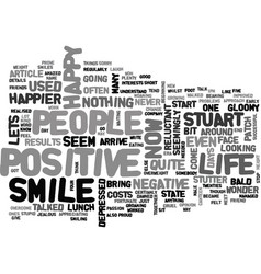 Be happy and give us a smile text word cloud vector