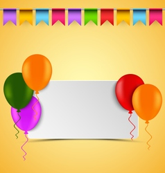 Birthday card with white sign balloons and flags vector