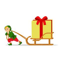 cartoon christmas elf sleigh with gift box vector image