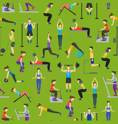 cartoon people workout exercise in gym background vector image vector image