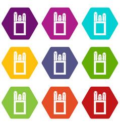 Chalks in carton box icon set color hexahedron vector
