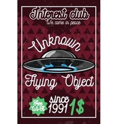 Color vintage ufo poster vector