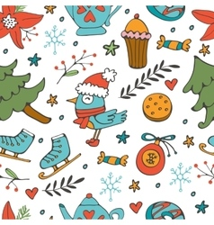 Colorful seamless pattern with winter related hand vector image vector image