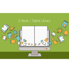 Computer monitor and linear icons with e-book vector