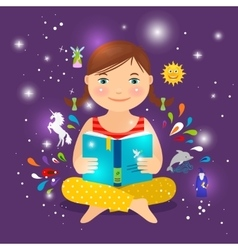 Cute girl reading book about magic vector