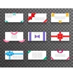 Envelope greeting cards with bows for mobile web vector image