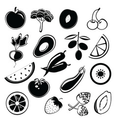 fruit and vegetables silhouettes vector image vector image