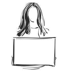 girl with frame in the hand sketch vector image vector image