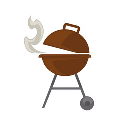 Grill with steam vector