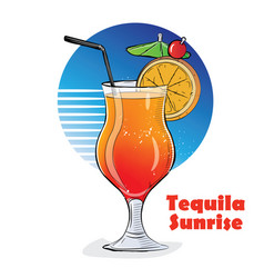 Hand drawn of cocktail tequila vector