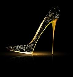 Lace black shoe vector