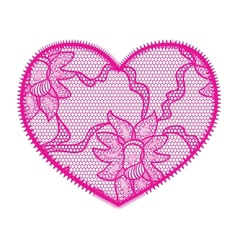 Lace heart pink applique vector