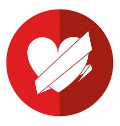 love heart wrap ribbon celebration romantic shadow vector image