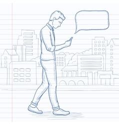 Man walking with smartphone vector