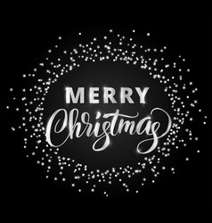 Merry christmas card with hand written lettering vector