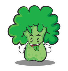 Money mouth broccoli chracter cartoon style vector
