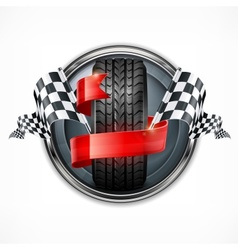 Racing emblem on white vector image vector image