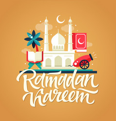 ramadan kareem - postcard template with mosque vector image vector image
